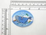 "Blue Whale Patch Iron On Embroidered  Applique 2 1/4"" x 1 5/8"""