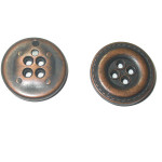 "Button Metal 3/4"" Flat Round Rubbed Bronze Color 6 Pack"