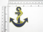 Anchor Blue & Gold Embroidered Iron On Patch Applique