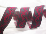 "Jacquard Ribbon 1 1/4"" (31.75mm) Charcoal & Red"