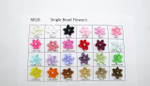 "Beaded Ribbon Flowers  - 3/4"" (19mm)  with Central Faux Pearl  Pack 10"