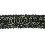 "Braid 1 1/8"" Fancy Black & Tan"