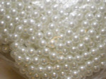 "8mm Antique White Faux Pearl 60"" Strung Beads"