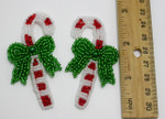 Beaded Applique - Candy Cane 1 pair