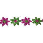 "Venise Lace 1"" Hot Pink & Green Daisy 4 ft Roll"