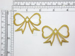 "2 x Bow Metallic Gold Embroidered  Iron On Patch Appliques Measures 2"" x 1.5"" high approx"