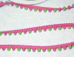 "5/16"" Hot Pink & Lime Green Mini Pom Pom Puff Trim 5 yards"