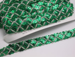 "Sequin Braid 5/8"" (15.8mm) Emerald Green with Silver Cord 6 Yards"