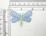 "Dragonfly Patch Blue Gingham Iron On Embroidered Applique   Measures 1 7/8"" across x 1 3/8"" high"