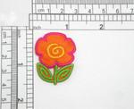 "3 x Orange Primrose Flower Iron On Patch Applique   Measures 1 1/2"" high x 1 1/8"" wide"