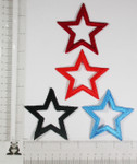 "Iron On Patch Applique - Open  Star 3"" (75mm) BOLD *Colors*"