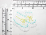 "Baby Booties Embroidered Iron On Patch Applique   Measures 2.25"" across x 2"" high"