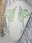 Collar Appliques Beaded L & R Pastel Green