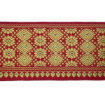 """Jacquard Sari Border 3"""" wide Red - Selling By The Yard"""