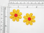 "10 x Daisy Yellow & Red Embroidered Iron On Applique   Measure 1 3/8"" across"