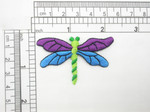 "Dragonfly Patch Purple & Blue Iron On Embroidered Applique   Measure 2 1/4"" across x 1 1/2"" high"