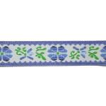 """Jacquard Ribbon 5/8"""" Blue White Floral - 5 Yards"""