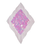 Sequin Applique Holographic Pink Diamond on Sheer