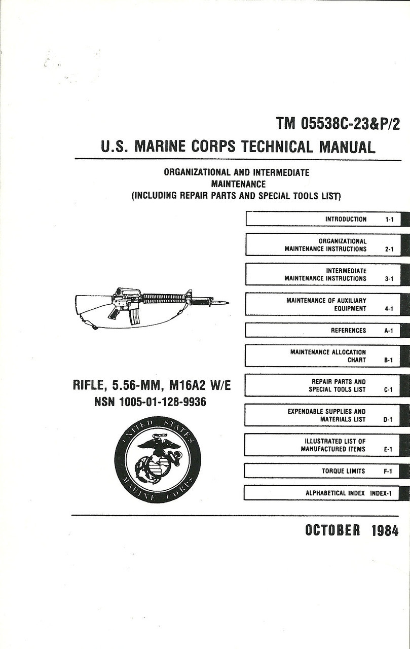 us marine corps technical manual for m16 - mickey's surplus