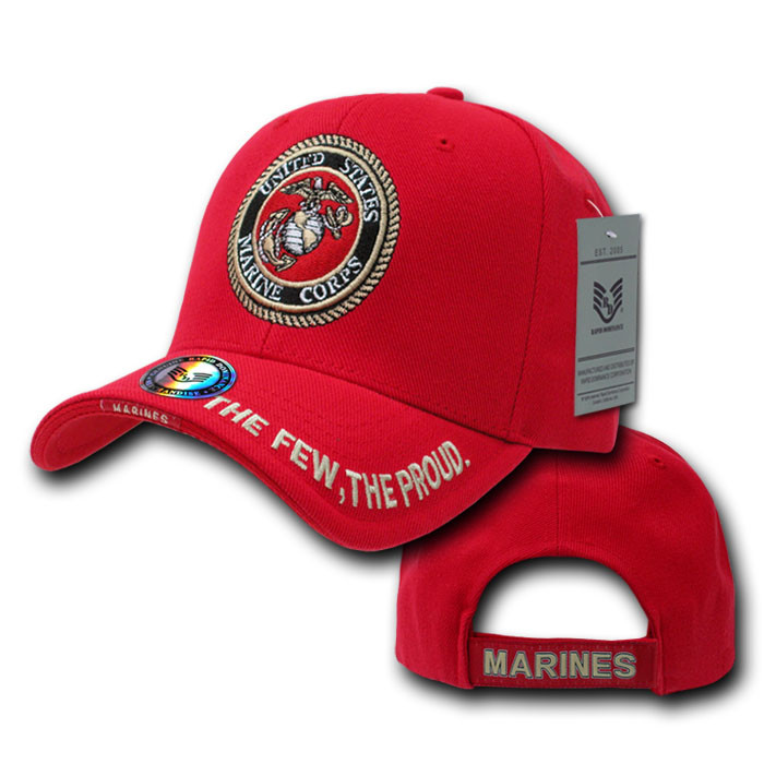 7868dff0b4 Rapid Dominance Red Marines Logo Ball Cap - Mickey s Surplus