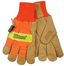 Kinco Safety Orange Pigskin Palm Glove with Waterproof Lining