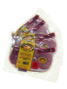 """Old-Fashioned Country Ham  Traditional country ham sliced ready to cook for breakfast.  Sliced 1/4"""" thick with a thin band of fat left on the slice so you can make red-eye gravy.  Two large slices are in each package."""