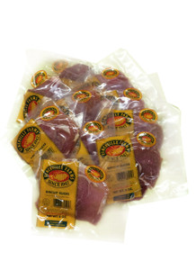 Country Ham Biscuit Slices (uncooked) Thin lean strips of country ham. These boneless slices are cut into biscuit - size pieces and weigh about 1/3 lb. per package.