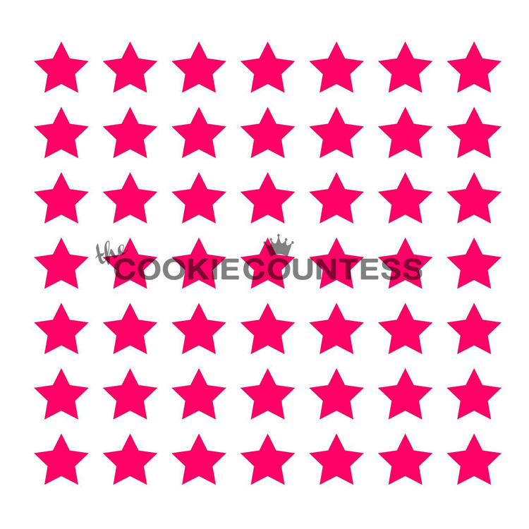 """Overall stencil size approximately 5.5"""" x 5.5"""". PINK sections in image are the open sections. Stencils are 5mil Food Grade plastic, washable and reusable."""