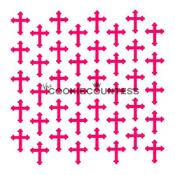 "Overall stencil size is approximately 5.5"" x 5.5"". PINK sections in image are the open sections. Stencils are 5mil Food Grade plastic, washable and reusable."