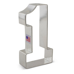 "Make anyone feel like #1 with the 4 3/8"" Number 1 Cookie Cutter! This shape is great for sports celebrations (especially if you lack an oversize foam finger), a first birthday, graduation, or other life milestone. Made in the USA."