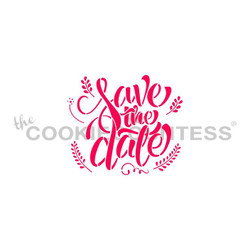 "Save the Date stencil. Designs size is 2.53 x 2.19"".  Overall stencil size approximately 5.5"" x 5.5"". PINK sections in image are the open sections. Stencils are 5mil Food Grade plastic, washable and reusable."