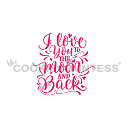 "I love you to the Moon & Back. Designs size is 2.53 x 2.19"".  Overall stencil size approximately 5.5"" x 5.5"". PINK sections in image are the open sections. Stencils are 5mil Food Grade plastic, washable and reusable."