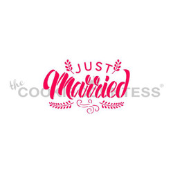 "Just Married. Designs size is 2.53 x 2.19"".  Overall stencil size approximately 5.5"" x 5.5"". PINK sections in image are the open sections. Stencils are 5mil Food Grade plastic, washable and reusable."