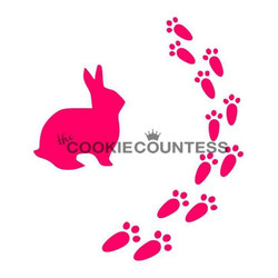 "Bunny prints Stencil. Overall stencil size is approximately 5.5"" x 5.5"". PINK sections in image are the open sections. Stencils are 5mil Food Grade plastic, washable and reusable."