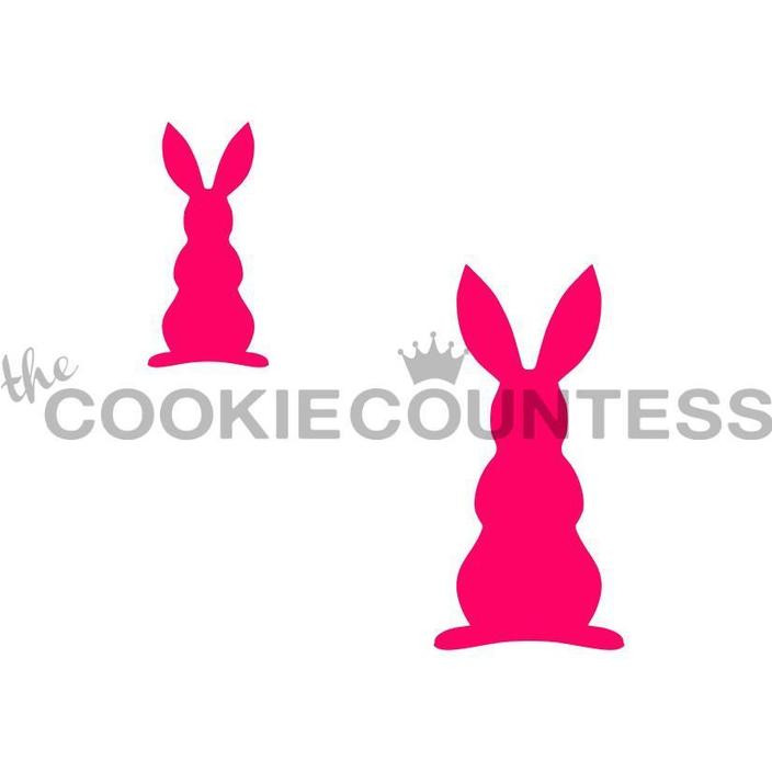 """Bunny Silhouette 2 sizes. Small bunny is 1"""" x 1.75"""". Large is 1.5"""" x 1.75"""".  Overall stencil size is approximately 5.5"""" x 5.5"""". PINK sections in image are the open sections. Stencils are 5mil Food Grade plastic, washable and reusable."""
