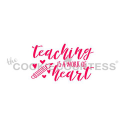 "Teaching is a work of Heart Stencil. Designs size is 2.75""  x 1.65"".  Overall stencil size approximately 5.5"" x 5.5"". PINK sections in image are the open sections. Stencils are 5mil Food Grade plastic, washable and reusable."