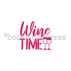 """Wine Time stencil. Designs size is 2.5 x 2.2"""""""".  Overall stencil size approximately 5.5"""" x 5.5"""". PINK sections in image are the open sections. Stencils are 5mil Food Grade plastic, washable and reusable."""