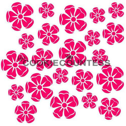 "Summer flowers stencil. Overall stencil size is approximately 5.5"" x 5.5"". PINK sections in image are the open sections. Stencils are 5mil Food Grade plastic, washable and reusable."