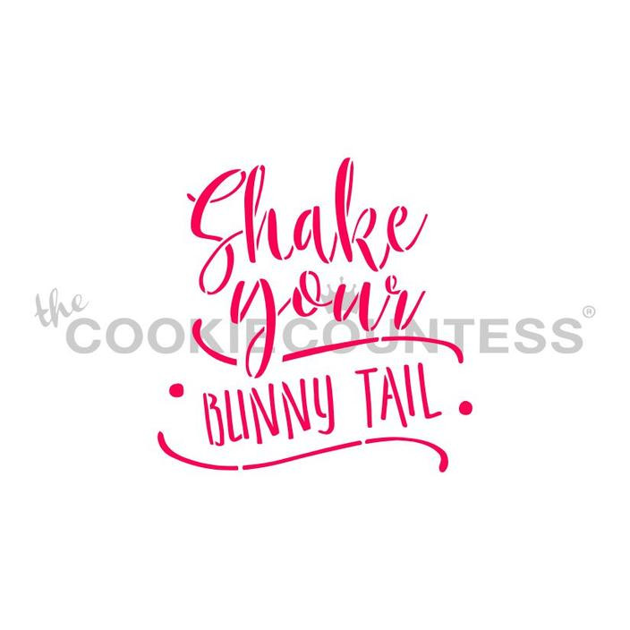 """Shake Your Bunny Tail stencil.  Design 2.75"""" x 2.74""""  Overall stencil size is approximately 5.5"""" x 5.5"""". PINK sections in image are the open sections. Stencils are 5mil Food Grade plastic, washable and reusable."""