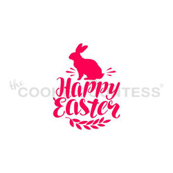 "Happy Easter with Bunny stencil.  Design size is 2.75"" x 2.13""  Overall stencil size is approximately 5.5"" x 5.5"". PINK sections in image are the open sections. Stencils are 5mil Food Grade plastic, washable and reusable."