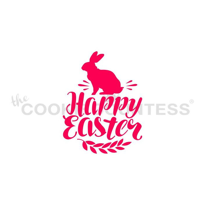 """Happy Easter with Bunny stencil.  Design size is 2.75"""" x 2.13""""  Overall stencil size is approximately 5.5"""" x 5.5"""". PINK sections in image are the open sections. Stencils are 5mil Food Grade plastic, washable and reusable."""