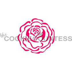 "Single rose stencil. Design size is 2.85"", overall stencil size 5.5"" x 5.5"", individual roses 3/4"" PINK sections in image are the open sections. Stencils are 5mil Food Grade plastic, washable and reusable."