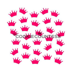 "Crowns stencil. Overall size approximately 5.5"" x 5.5"". PINK sections in image are the open sections. Stencils are 5mil Food Grade plastic, washable and reusable."
