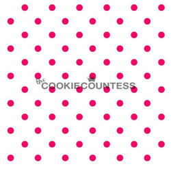 """Small dots stencil. Each circle is 1/4"""" Overall stencil size is approximately 5.5"""" x 5.5"""". PINK sections in image are the open sections. Stencils are 5mil Food Grade plastic, washable and reusable."""
