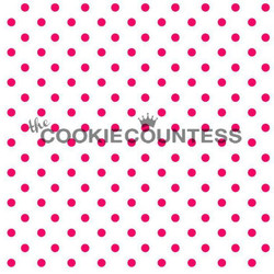 "Tiny dots stencil. Each circle is 1/8"" Overall stencil size is approximately 5.5"" x 5.5"". PINK sections in image are the open sections. Stencils are 5mil Food Grade plastic, washable and reusable."