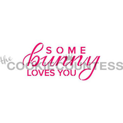 "Some Bunny Loves You stencil. Design size is 3.46"" x 1.75"". Overall stencil size is approximately 5.5"" x 5.5"". PINK sections in image are the open sections. Stencils are 5mil Food Grade plastic, washable and reusable."