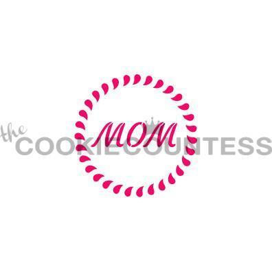 "Mom with Border stencil. Design size is 2.5"" Overall size approximately 5.5"" x 5.5"". PINK sections in image are the open sections. Stencils are 5mil Food Grade plastic, washable and reusable."