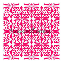"Modern damask stencil. Overall stencil size is approximately 5.5"" x 5.5"". PINK sections in image are the open sections. Stencils are 5mil Food Grade plastic, washable and reusable."