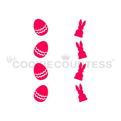 "Eggs & Bunnies Vertical stencil.  Design size is .65"" x 3.78"" and .60"" x 3.78"" Overall stencil size is approximately 5.5"" x 5.5"". PINK sections in image are the open sections. Stencils are 5mil Food Grade plastic, washable and reusable."
