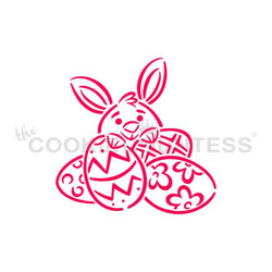 "Designed by the talented Drawn with Character - Bunny Behind Eggs stencil.  Design size is 3.25"" x 3.16""  Use as a Paint your Own stencil, or as it's own design! Overall stencil size is approximately 5.5"" x 5.5"". PINK sections in image are the open sections. Stencils are 5mil Food Grade plastic, washable and reusable."